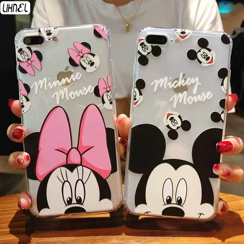 LIHNEL Summer Cool Mickey Minnie Mouse Couple Case Crystal Clear TPU Shell for Apple iPhone 6 6S 6Plus 7 7 Plus 8 8plus X Cases