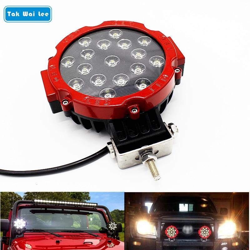 Tak Wai Lee 1X 51W 7 colių LED darbo šviesos lemputė DC10-30V, - Automobilių žibintai