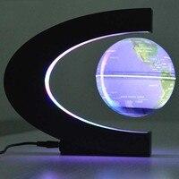 Creative 4 Inch C Shape Electronic Magnetic Levitation Floating Globe World Map US Plug Educational Light Up Toys for Children