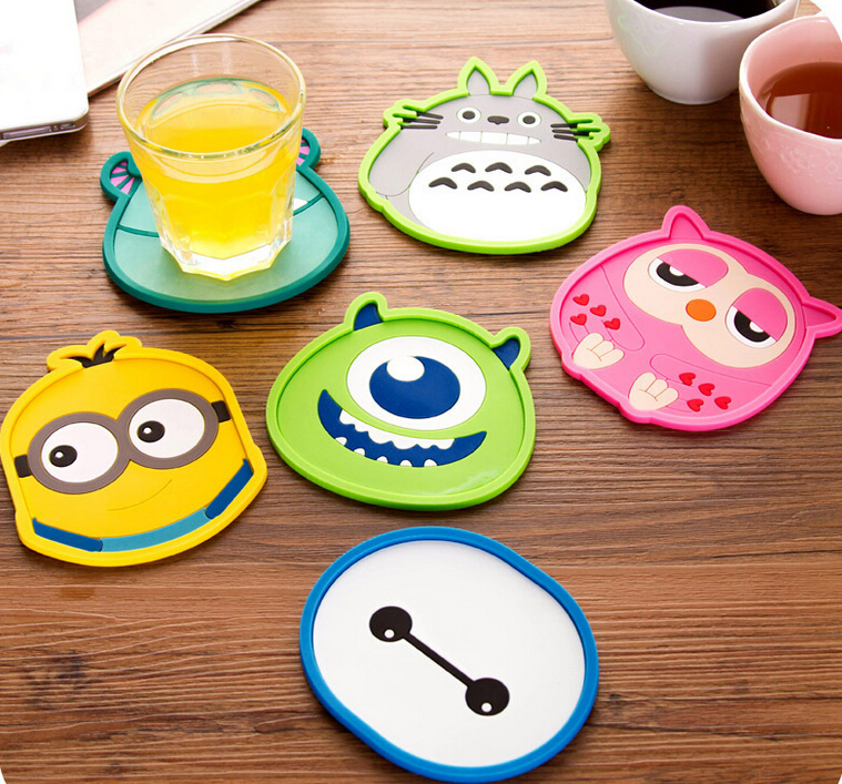 100pcs New Design Round Silicone Coasters Cute Cartoon Tea