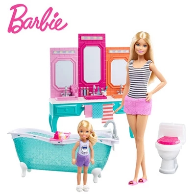 ФОТО Barbie Shiny Holiday Home Doll House Furniture Miniatures Dollhouse Kit Cute Room Baby Girl Toys Poppenhuis Casa de Boneca DLG95