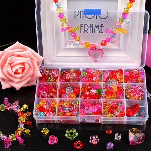 1Box DIY Beads Toys for Children Kids Handmade Necklaces Bracelets Jewelry Making Beads Kit Set Girls Educational Toys Gift