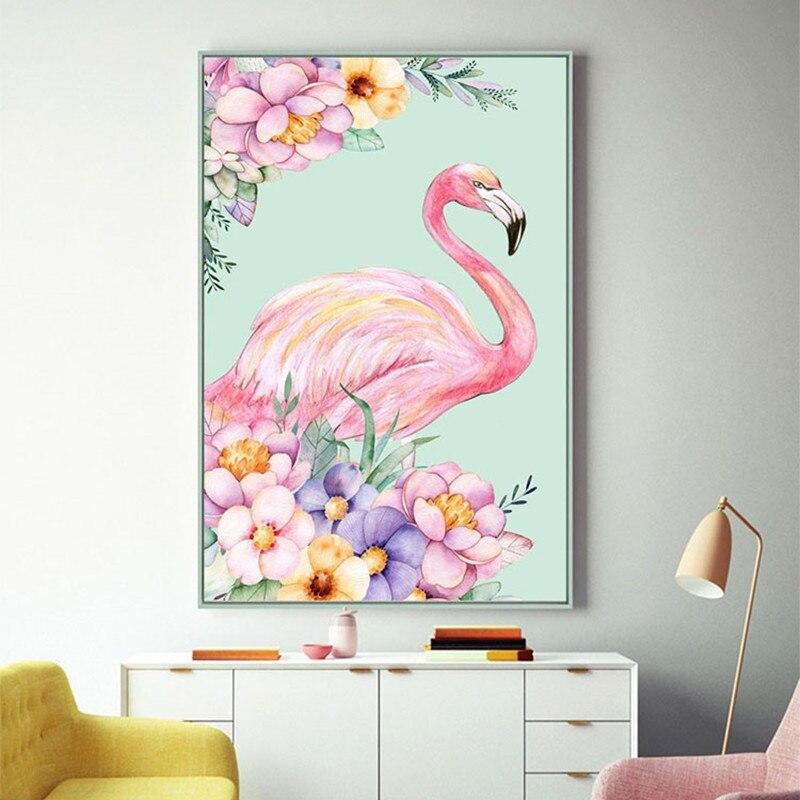 Pintura diamante flamingos diamante completo colar diamante