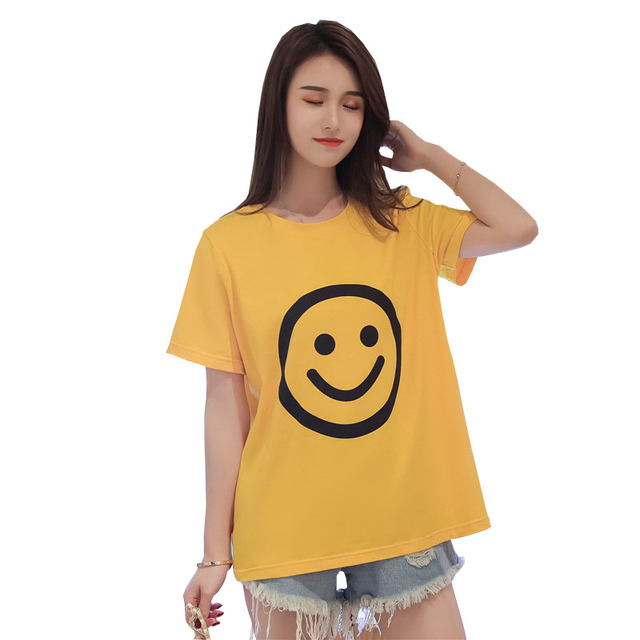 YZ Big Size T Shirt Woman Fashion Summer Casual Loose Harajuku Tops tee 2019 New Tee Shirts Letter Printed White Women T-shirts