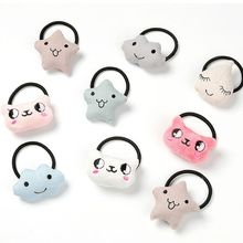 14 Styles Korean SweetGirls Rubber Band Plush Velvet Toy Hair Rope Cute Cartoon Bear Cat Cloud Doll Cloth Craft Ponytail Holder