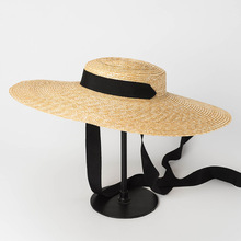 [La MaxPa] Wide Brim Boater Hat Summer Beach Sun Visor Hat for Women Elegance Ladies Wheat Straw Hat with Ribbon Tie