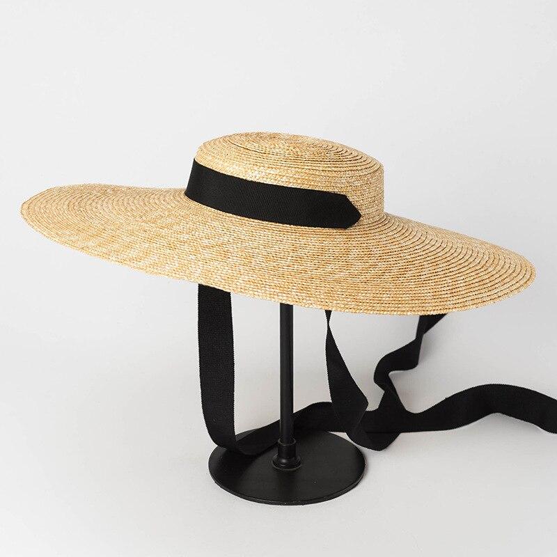 [La MaxPa] chapeau de plaisancier à large bord été chapeau de pare-soleil de plage pour les femmes élégance dames chapeau de paille de blé avec cravate de ruban