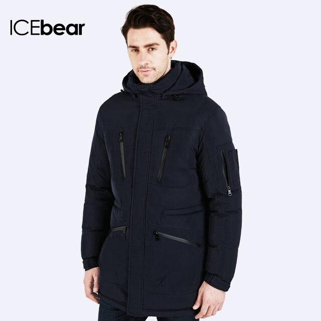 ICEbear Зимние куртки мужские  Длинный приталенный пуховик Простая стильная куртка  Молодежная зимняя парка Мужское Пальто Мужская Куртка 15M161D