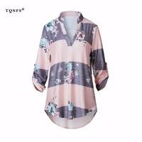 TQNFS Floral Print T Shirt Women Three Quarter Deep V Neck Tees Girl T Shirt Female
