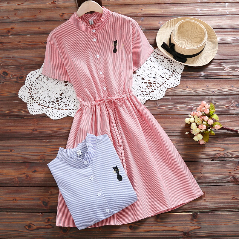 Mori Girl Summer Dress 2018 New Fashion Women Cat Embroidered Slim Waist Cotton Dresses Female Short Sleeve Striped Vestidos