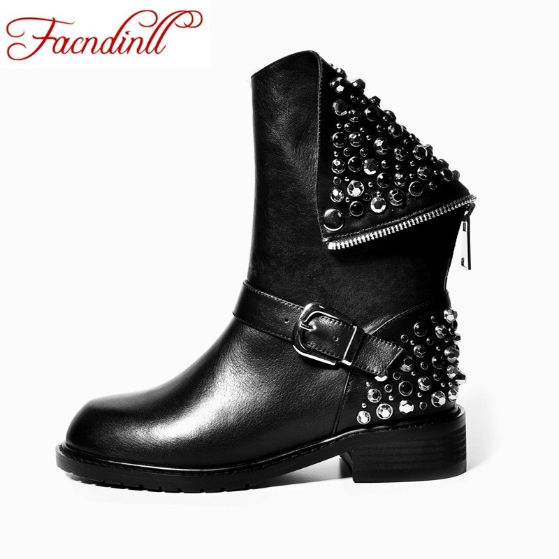 FACNDINLL top quality PU + genuine leather boots rivets square heels autumn winter shoes woman ankle boots super-star snow boots fedonas top quality winter ankle boots women platform high heels genuine leather shoes woman warm plush snow motorcycle boots