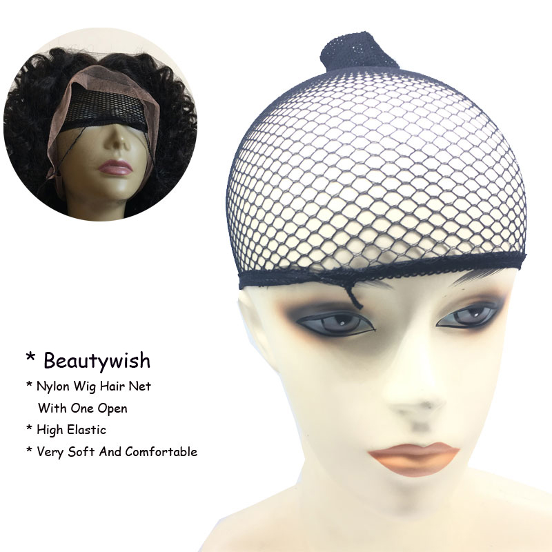 Beautywish 5Pcs New Stretchable Elastic Hair Nets Snood Wig Cap Cool Mesh Cosplay Black Color FishHairnet With One Open  headpiece