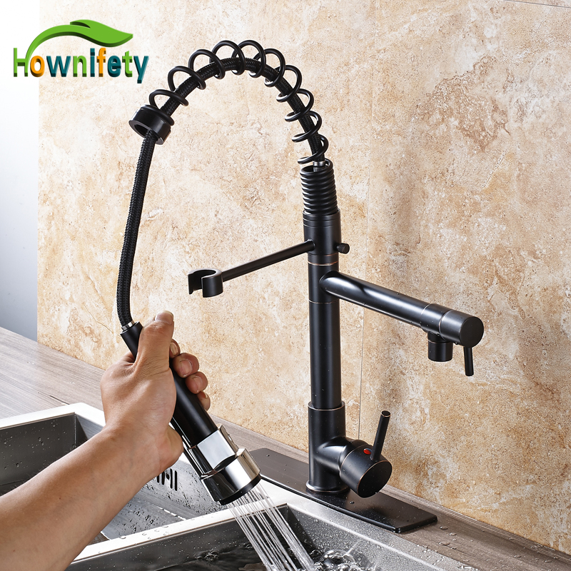 Oil Rubbed Bronze Spring Kitchen Sink Faucet Pull Out Swivel Spout Mixer Tap with 10 Inch Cover Plate