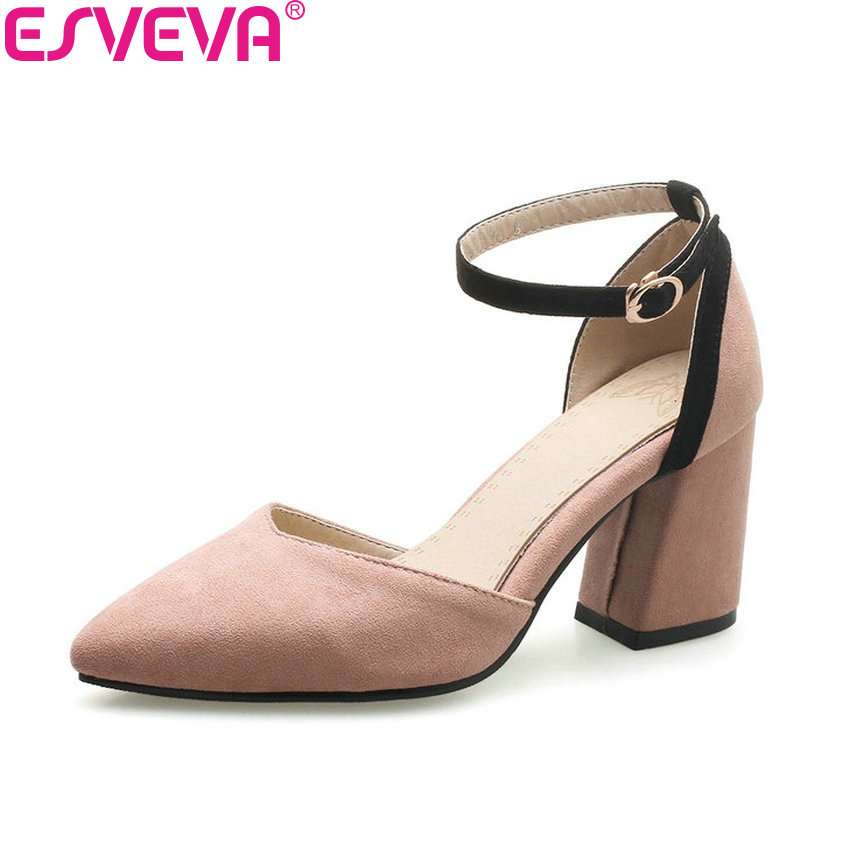 ESVEVA 2018 Women Pumps Buckle Strap Flock Square High Heels Pointed Toe Mixed Color Two-piece Pumps Women Shoes Size 34-43 comfy women pointed toe square high heels office shoes woman flock ladies pumps plus size 34 40 black grey high quality