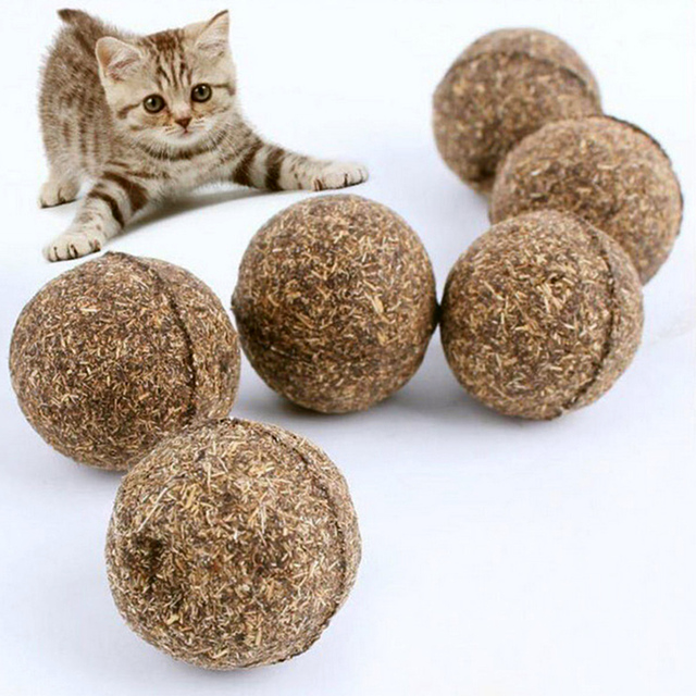 5pcs/lot Pet Cat Natural Catnip Treat Ball Favor Home Chasing Toys Healthy Safe Edible Treating Cat Toy Pet Products for Cats