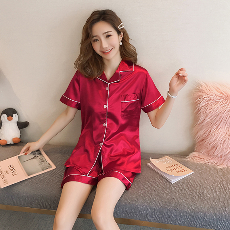 Imitation Silk Women   pajamas     set   2019 Summer ladies sleepwear girls short-sleeved Casual Lingerie femme home clothes gift