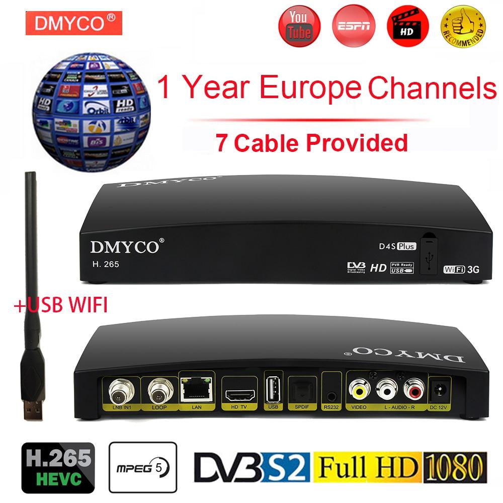 Original Satellite Receiver D4S Plus HD Europe Channels For 1 Year Spain DVB-S2 Satellite Receiver H.265 TV Tuner Decoder +WIFI