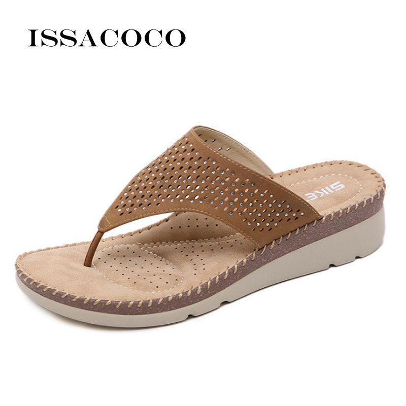 ISSACOCO Summer Slippers Women Beach Casual Slipper Flip Flops Sandals Home Flat Shoes