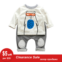 Fashion 2pcs Lot Baby Bear T Shirt And Pants Terry Cotton Baby Boy Clothes 6 24M