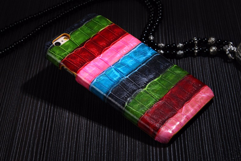 Pink color case for iPhone 6 6S Plus crocodile genuine leather