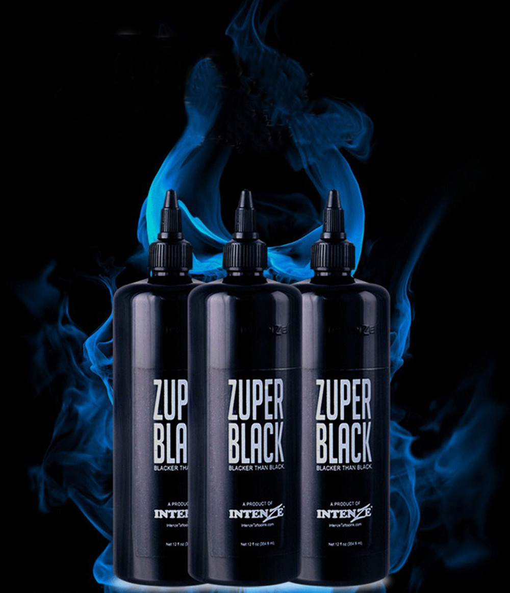 3PCS Tattoo large bottle ZUPER BLACK tattoo ink pigment 12oz (360ml) permanent tattoo color free shipping free shipping 200g bag gardenia black color pigment
