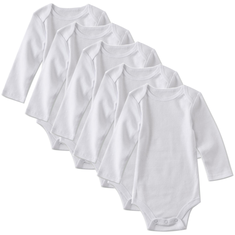 5 Pack Newborn Bodysuit Babies Baby Boys Girls Clothes Toddler Infant Unisex White Long Sleeve Bodysuits