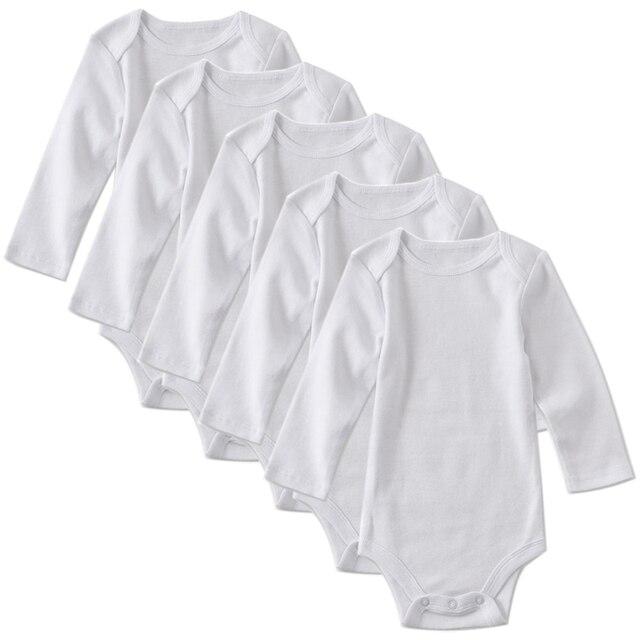 5 Pack Newborn Bodysuit Babies Baby Boys Girls Clothes Toddler Infant Unisex White Long Sleeve Bodysuits