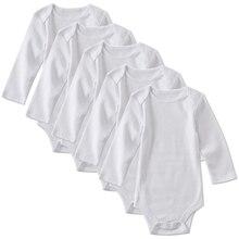 5 แพ็คทารกแรกเกิดทารกเด็กชายหญิงเสื้อผ้าเด็กวัยหัดเดินทารก Unisex สีขาวแขนยาว