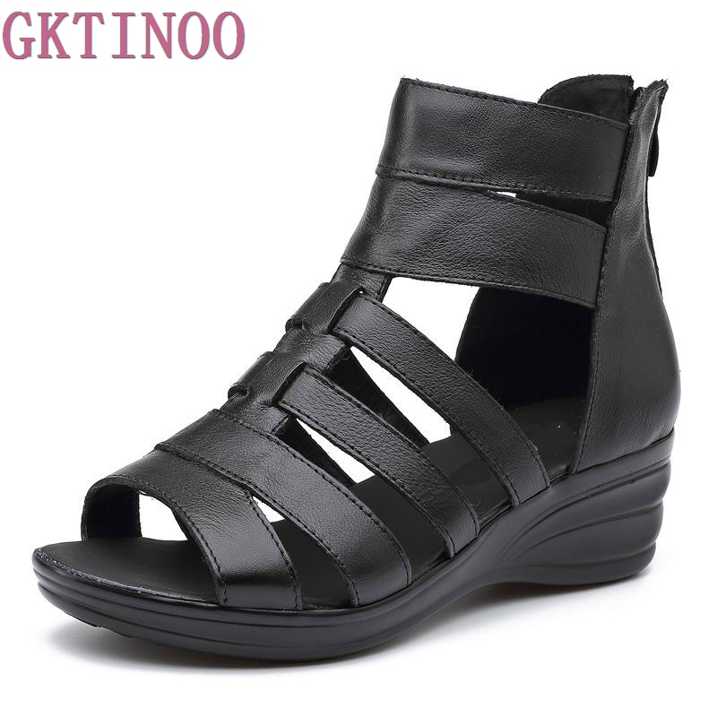 2018 new Summer female sandals genuine leather soft outsole comfortable women sandals shoes open toe women's wedges sandals mmnun 2017 boys sandals genuine leather children sandals closed toe sandals for little and big sport kids summer shoes size26 31