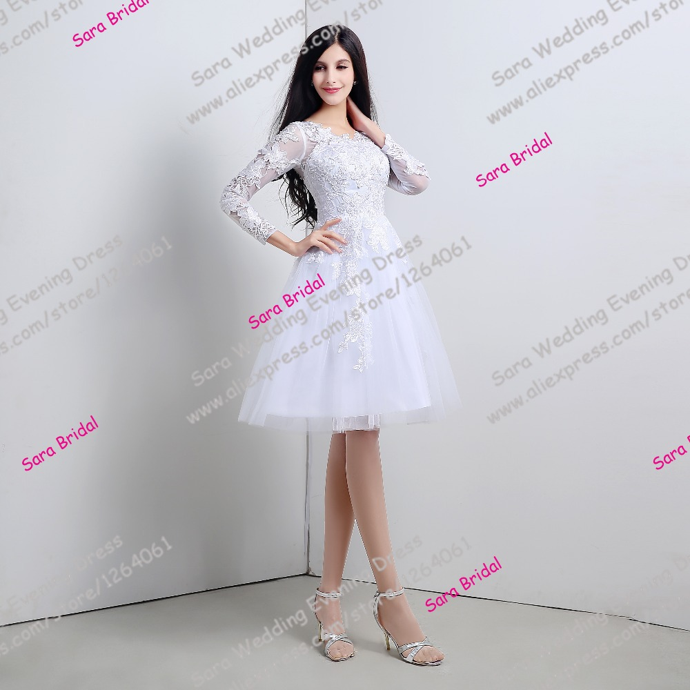 Cheap 2015 Wedding Dresses Short White Wedding Dresses a line long ...