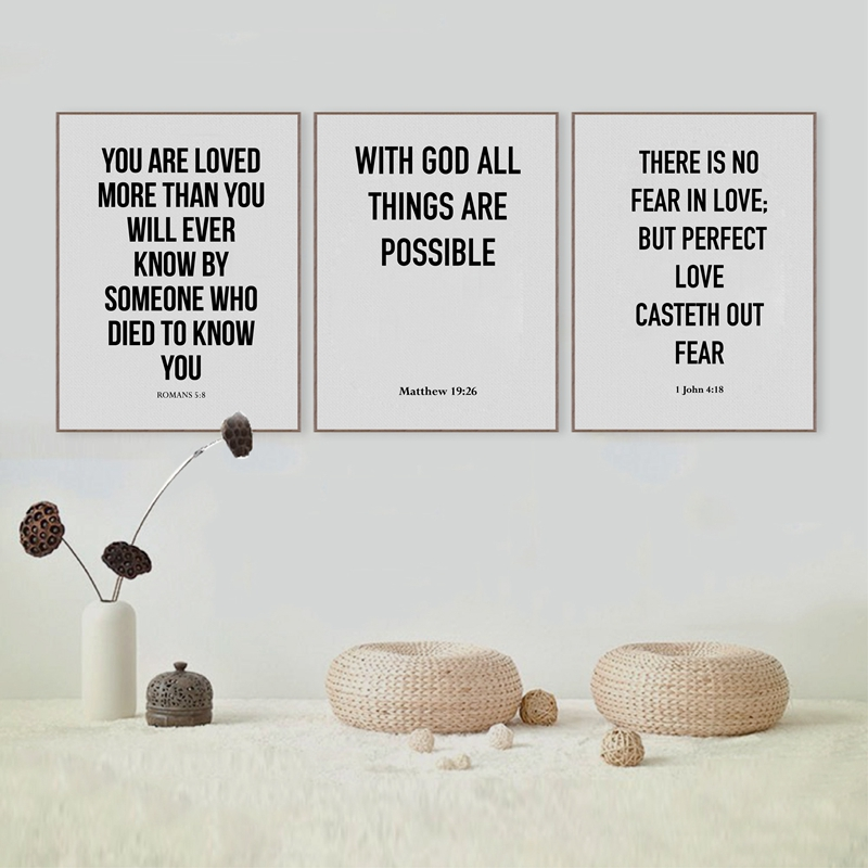 Love Peace Bible Quote Canvas Prints Poster Home Living Room Bible Verse Wall Art Painting God Religious Home Decoration
