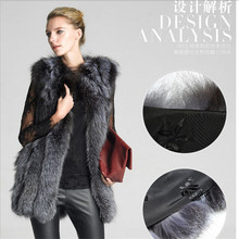 S-6XL Plus Size Silver Fox Vest Leather Women Fur Vest Autumn Female Fur Vest Winter Warm Sleeveless Outwear Coat A2044