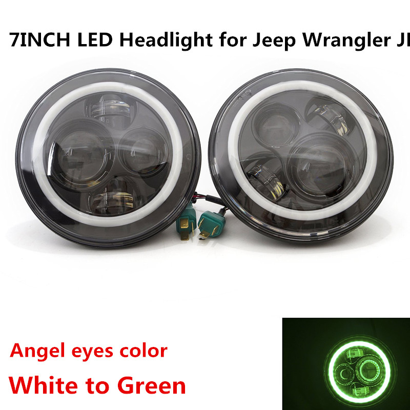 LED Headlight Round 45W 7INCH LED Driving Light Lamp High/Low Beam DRL Green turn signal for Jeep Wrangler JK CJ Harley 7inch round black left hand led headlight hi low beam 80w high bright driving lamp for jeep harley