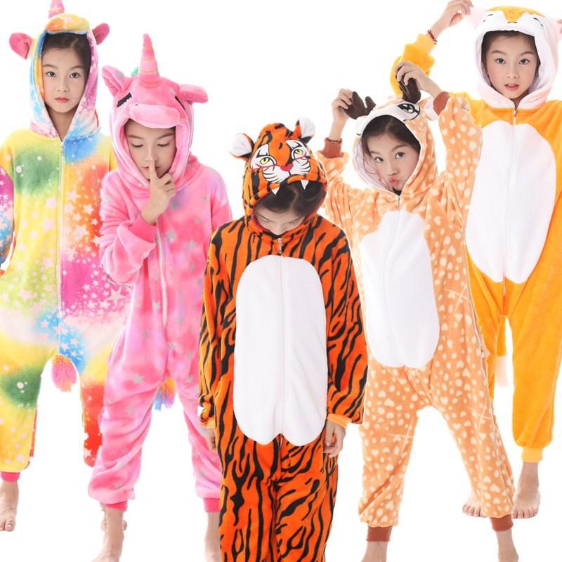 New unicorn winter flannel Tianma animal one-piece pajamas pink girls cartoon hooded jumpsuit boys wear