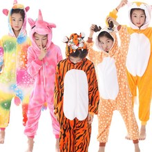 New unicorn winter flannel Tianma animal one-piece pajamas pink girls cartoon hooded jumpsuit boys wear