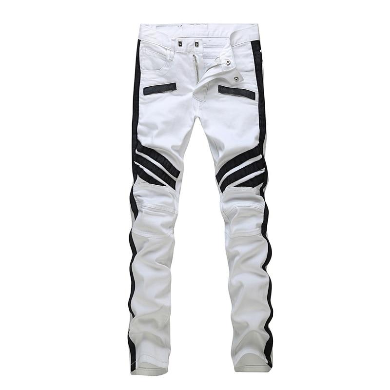 2016 NEW Men PU&cotton  patchwork Jeans men,Famous Brand Fashion Designer Denim Jeans Men,plus-size 28-36 new famous brand man jeans cotton fashion leisure man jeans men straight designer jeans casual jeans pant plus size