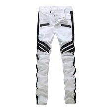 2016 NEW Men PU&cotton patchwork Jeans men,Famous Brand Fashion Designer Denim Jeans Men,plus-size 28-36