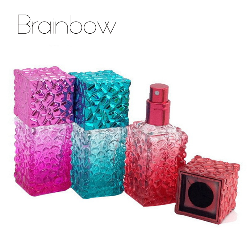Brainbow 20ml Water Cube Empty Perfume Bottles Atomizer Spray Glass Refillable Bottle Spray Scent Case with Travel Size Portable adnart flavour it glass water bottle with fruit infuser