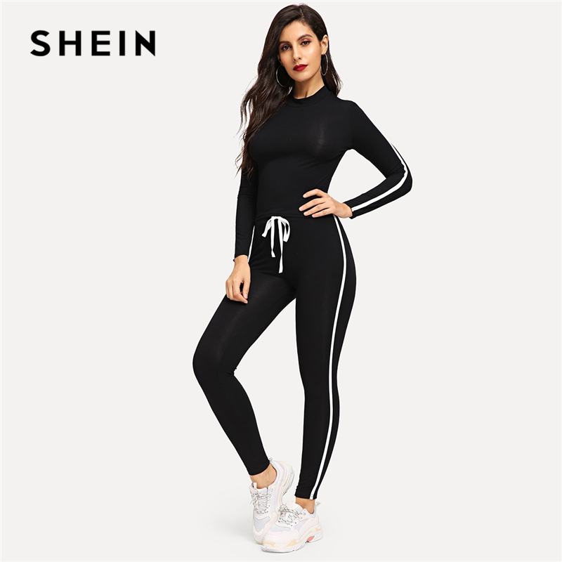 SHEIN Athleisure Black Round Neck Striped Top Drawstring Waist Plain Pants Sets Women Spring Active Wear Sporting Two Piece Set 1