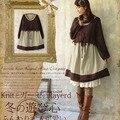 Mujeres japonesas harajuku lambsdown faux de dos piezas de encaje de algodón lindo sweet lolita dress mori niña vestido de manga larga femenina a048