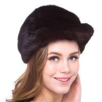 Natural mink fur female winter warm hat real fur pure handmade high quality 2018 new discount urban street popular Russia