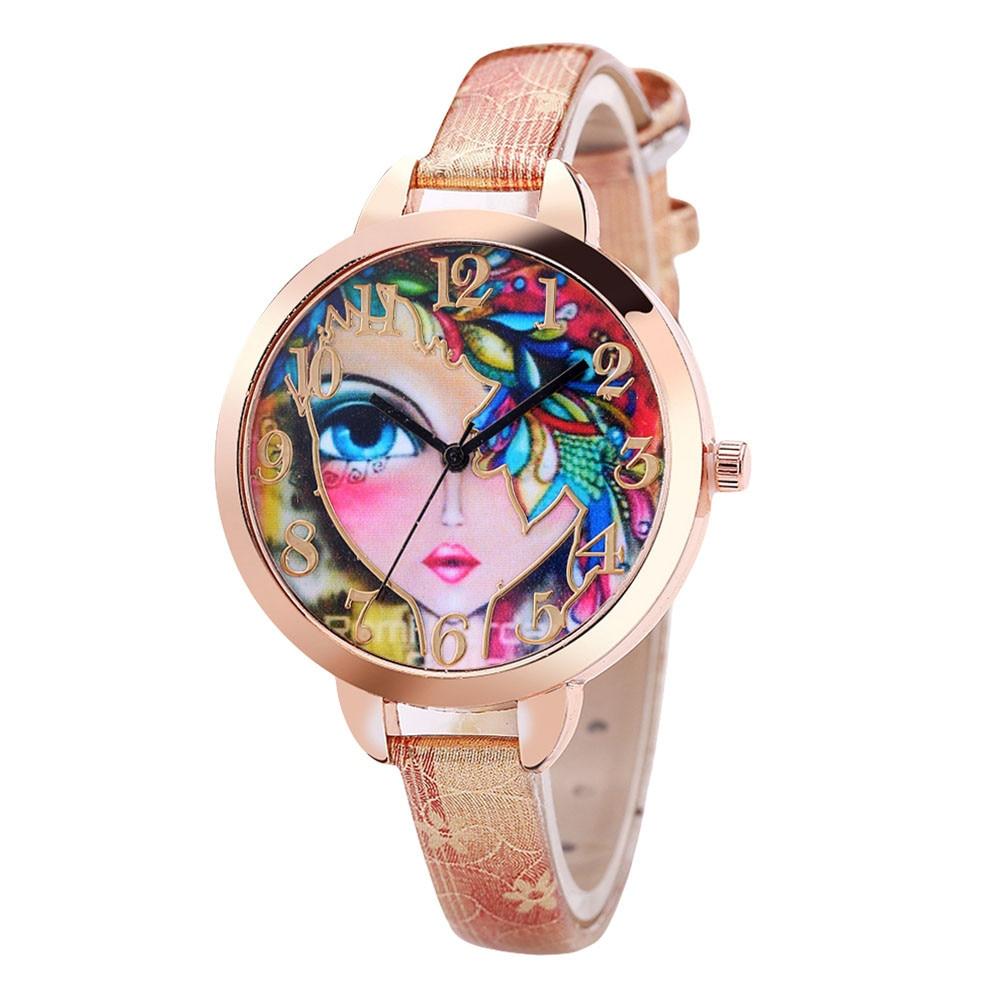 Модные Винтажные дизайнерские женские часы циферблат с печатью лица часы подарок кожаный ремень женские кварцевые наручные часы женские ч...