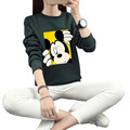 Fashion Mickey Mouse Hoodie Women Sweatshirts Long Sleeve Crop Top Pullover 2016 Autumn Woman Sweatshirt Tracksuits