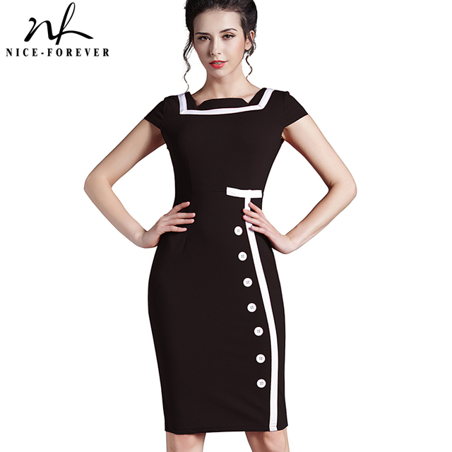 231e4f13b4 US $13.78 5% OFF|Nice forever Plus Size Gorgeous Women Square Neck  Sleeveless Button Formal Business Sheath Bodycon Vintage Pencil Midi Dress  742-in ...