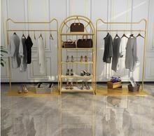 Show rack, display hanging floor-type combination store clothes golden rack