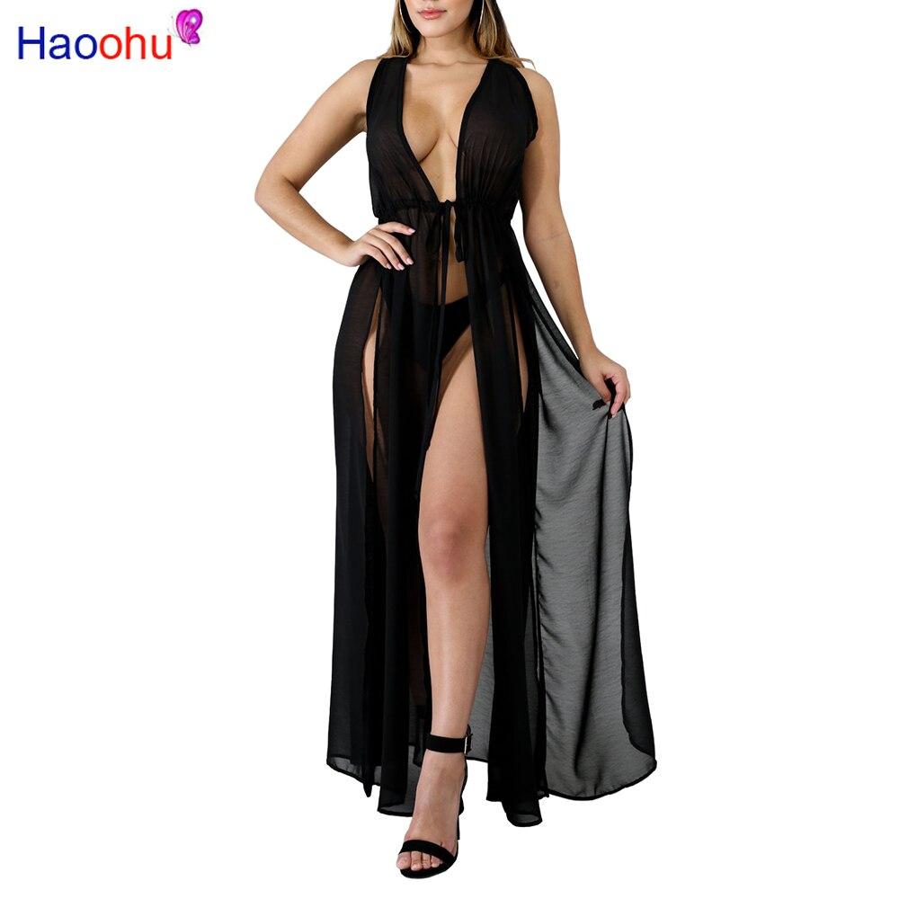 587d8d41502d6 HAOOHU Summer Chiffon Beach Dress Women Deep V-neck High Slit See Through  Bandage Bohemian