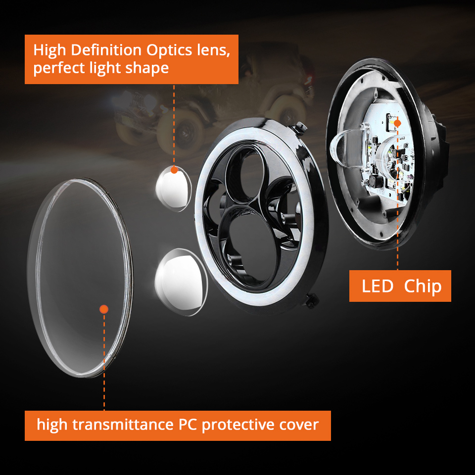 Image 3 - 7 inch LED Headlight Off Road 4x4 Running LightsHeadlamp Hi/Low Beam Halo Angle Eyes DRL 12V For Jeep Wrangler TJ 1997 2005 2006-in Car Light Assembly from Automobiles & Motorcycles