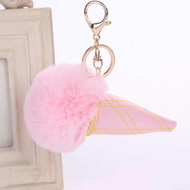 1 Pcs Artificial Fur Pompom Keychain Plush Fluffy Ice Cream Key Chain Women  Girl Bag Pendant Car Accessories Keyrings e06194a5d9497