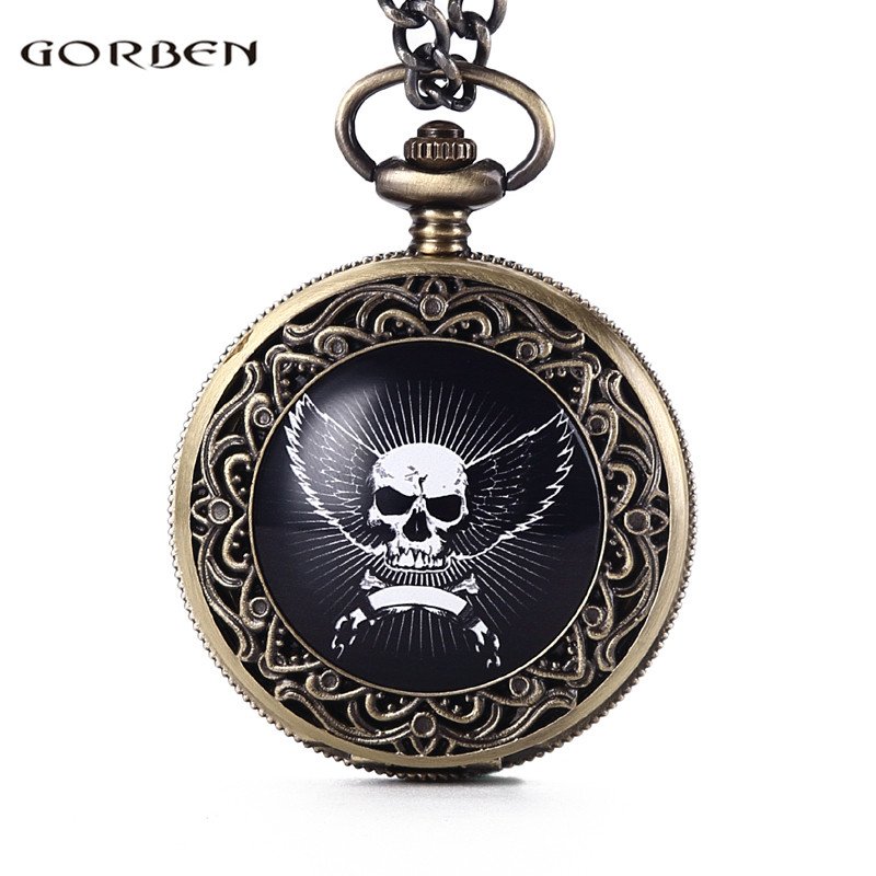 Fashion GORBEN God's angels Cross with Wings Design Carving Pocket Watch Mens Waist Chain Vintage Angel Wings Quartz Watch Women fashion angels barbie