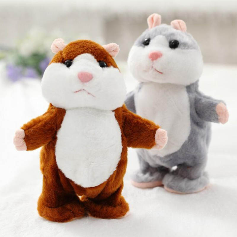 Dropshipping Promotion 18cm Lovely Talking Hamster Speak Talk Sound Record Repeat Walk Stuffed Plush Animal Kawaii Hamster Toys